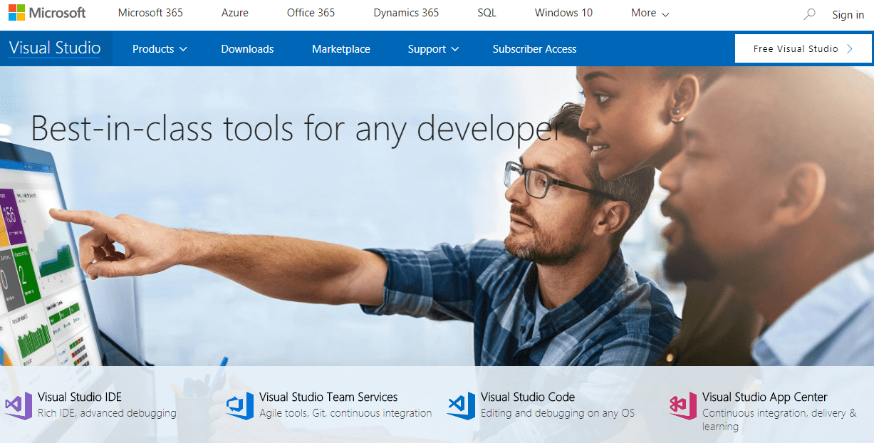 screenshot van Visual Studio